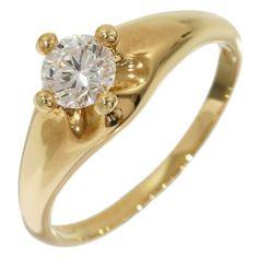 preowned bulgari bvlgari 18k yellow gold 0374ct diamond corona ring