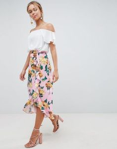fc798e22dca ASOS DESIGN chiffon midi skirt with button and frill detail in floral print  Floral Skirt Outfits