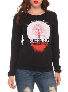 I just got this shirt. I LOVE IT!!! http://www.hottopic.com/hottopic/HTBrandsAndCollections/RDBrands/SleepingWithSirens/Sleeping+With+Sirens+Tree+Girls+Pullover+Top-10021710.jsp
