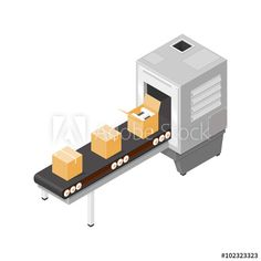 Isometric illustration of an industrial production line.   Factory line with conveyor belt and new boxed goods.
