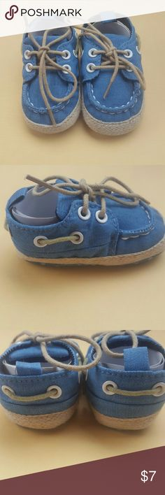 Adorable Blue Denim Baby Shoes, Size Small Size: Small (See last photo for measurement)  The distributer sizes these in S, M, L - I can order them in other sizes, if anyone is interested inquire in the comments!  Brand new, with original packaging!  Please feel welcome to ask any questions or request more photos, I am happy to help! :) Shoes Moccasins