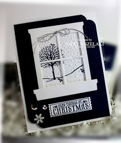 STAMPS: Happy Scenes, Antique Tags. PAPER: Night of Navy, Whisper White. INK: Night of Navy. PUNCHES: Curvy Corner Trio & Washi Label. OTHER: Big Shot, Hearth & Home Thinlits, Softly Falling EF, Silver Cording Trim, Silver Mini Brads, Sequins.