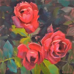 """Daily+Paintworks+-+""""Paint+the+Roses+Red""""+-+Original+Fine+Art+for+Sale+-+©+Carol+Marine"""