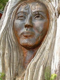 Papataunuku, Maori Earth Goddess from Creation Myth. Wood carving of Rangi and Papatuanuku in Nelson NZ — with Sofia Iturralde.
