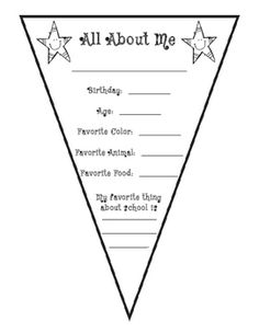 All About Me Pennant {Freebie} Maybe use this as the