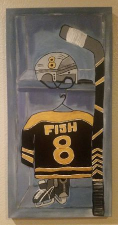 Hand painted wood framed canvas - custom order hockey locker by SimplyShanCreations on Etsy