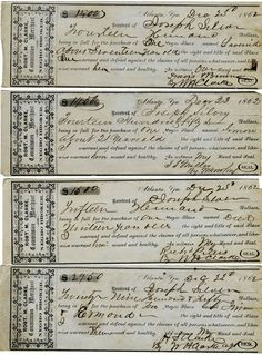SLAVE RECEIPTS     After Slaves were sold the buyers would be given tickets and allowed to get their Slave.