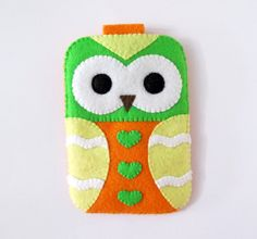 Green Orange Hearts Owl iPhone Camera Cell Phone Gadget Cute Case with closure. $24.00, via Etsy.