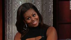"""During an appearance on """"The Late Show with Stephen Colbert,"""" first lady Michelle Obama did an impersonation of President Barack Obama at the dinner table."""