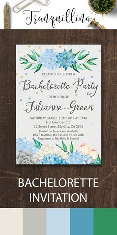 Bachelorette Party Invitation, Succulent Boho Bachelorette Invitation, Printable Bachelorette Invitation, Floral Bachelorette Invitation, Mint and Green Wedding Ideas. Watercolor hydrangeas, roses and succulent invitation. More modern and bohemian invitations at: tranquillina.etsy.com