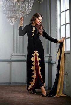 Black Velvet Pakistani Style Suit
