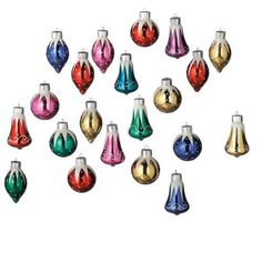 "2"" Glass Bells, Balls and Drops Glittered Miniature Christmas Ornament Set"