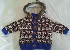Hanna Andersson Baby Boy Sweater Jacket Brown Blue Cats Dogs Faux Fur Hood 70 #HannaAndersson #Jacket #Everyday