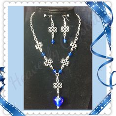 Silver Tone and Royal Blue Celtic Set
