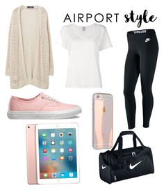 """""""comfy trips ✈️"""" by sarah-datri ❤ liked on Polyvore featuring NIKE, Violeta by Mango, Visvim, Vans, Apple, GetTheLook and airportstyle"""