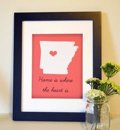 State art 8x10 print- Home is where the heart is- Arkansas- Razorbacks- graduation gift- dorm room- University of Arkansas