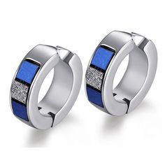 * Penny Deals * - SumBonum Jewelry Womens Stainless Steel 2-Tone Simple Plain Cambered Stud Huggie Hoop Earrings, Blue Silver * Want to know more, click on the image.