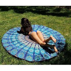 Indian Mandala Round Roundie Beach Throw Tapestry Hippy Boho Gypsy Cotton Tablecloth Beach Towel Round Yoga Mat - Blue by NANDNANDINITEXTILE on Etsy