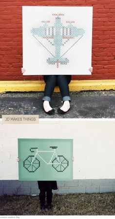 Jumbo Cross-Stitch Art Pieces by Jessica Decker - Home - Creature Comforts - daily inspiration, style, diy projects + freebies