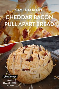 Promoted by Sargento®. This delicious pull-apart bread packed with bacon, Sargento® Chef Blends® Shredded 4 State Cheddar® Cheese and ranch seasoning is sure to distract even the most die-hard football fans from the TV. Click through for the full recipe!
