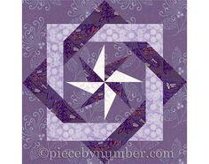 Interlocked Squares quilt block paper por PieceByNumberQuilts