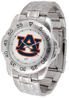 Auburn Sport Men's Steel Band Watch by SunTime. $54.95. This handsome, eye-catching watch comes with a stainless steel link bracelet. A date calendar function plus a rotating bezel/timer circles the scratch resistant crystal. Sport the bold, colorful, high quality logo with pride.
