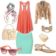 coral drapey singlet, turquoise fitted miniskirt, cream / violet / jade scarf, nude crumpled blazer, cream handbag, gold bow ring, gold / white oblong ring, coral sunglasses, nude / cream flat sandals