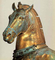 Uno dei cavalli di San Marco dopo il restauro effettuato negli anni '70