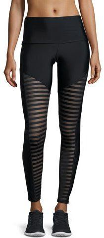 Onzie Fierce Mesh-Stripe Leggings, Black