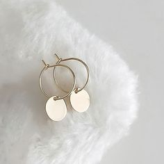 Items similar to Tiny Disc Hoop Earrings, Gold / Silver / Pink Gold, Round Circle Minimalist Geometic Jewelry, Bridesmaid Wedding Girlfriend Gift, gj wj on Etsy Ear Jewelry, Hippie Jewelry, Dainty Jewelry, Cute Jewelry, Diamond Jewelry, Jewelry Accessories, Jewellery, Cute Earrings, Gold Earrings