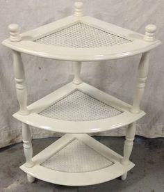 Greystone Fine Furniture - Short 3 tier corner shelf with caning, shabby chic, white. 95$