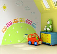 Love this cute train mural for kids playrooms!