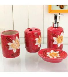 Gorgeous Flowers Red Bath Accessory Set XF-2017