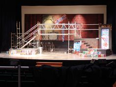 Backdrop for second production of WORD on the Street  originally painted by Donna and Marina for the Thunder Bay Community Auditorium Stage