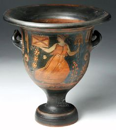 Greek Campanian Bell Krater - Published in Trendall. Ancient Greece, Magna Grecia, Cumae region of southern Italy, Campanian, ca. 340 to 320 BCE. Attributed to the Ivy-Leaf Painter of the Apulianizing Group. Archaic Greece, Ancient Greece, Ancient Egypt, Mycenaean, Minoan, Magna Graecia, Art Quiz, Hellenistic Period, Classical Period
