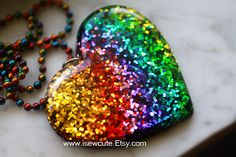 Festival Fashion, Resin #Rainbow Heart Shaped Pendant Necklace, Huge Chunky #Kawaii Glitter Rave #Summer Jewelry Kawaii Heart Charm by #isewcute on #Etsy