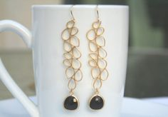 Black Earrings in Gold. Gold Earrings. Statement Earrings.