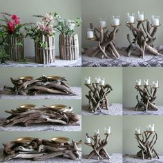 Looking for some driftwood DIY ideas for your next home decor project? Check out some of the best crafts and tutorials using driftwood that will be perfect for a coastal or boho home. Twig Crafts, Driftwood Crafts, Diy Home Crafts, Creative Crafts, Driftwood Mobile, Driftwood Sculpture, Rustic Candle Holders, Rustic Candles, Pillar Candles