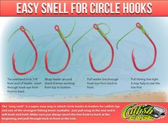 The easy snell for circle hooks is a quick and easy way to attach hooks to catfish rigs and many anglers claim it helps them catch more catfish. Learn more about the four simple fishing knots every catfish angler should know.