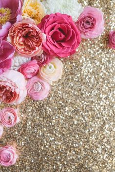 Pink Flower Photo, Gold Sequins by Anna Delores on @creativemarket