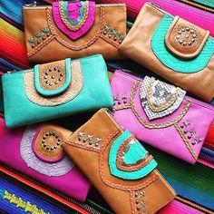 •>>COLOUR BOMB<<• bright and beautiful leather styles online now ~www.mahiya.com.au #photooftheday #wallet #boho #bohowallet #handmade #freespirit #wildheart #mahiya