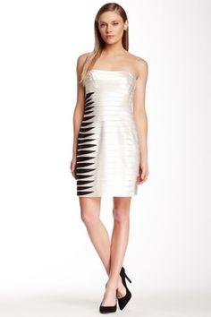 BCBGMAXAZRIA Contrast Layered Two-Tone Dress