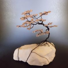 Pink Cherry Blossom Wire Bonsai