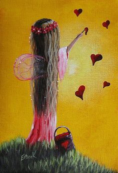 Cute painting of little girl angel with pink wings and flower halo in her hair painting little red hearts on golden yellow wall. By Shawna Erback. Please also visit www.JustForYouPropheticArt.com for more colorful Prophetic Art you might like to pin or purchase. Thanks for looking! #propheticart