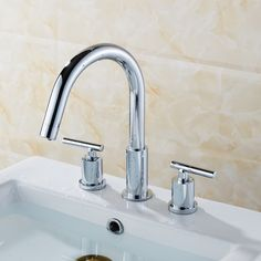 American Imaginations Double Handle Off Center Brass Faucet