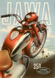 A-Z of historic classic vintage veteran motorcycles motorbikes JAWA Bike Poster, Motorcycle Posters, Car Posters, Motorcycle Art, Bike Art, Moto Jawa, Vintage Advertisements, Vintage Ads, Jawa 350