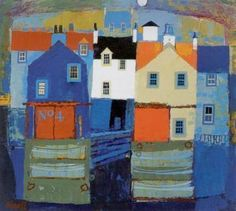 George Birrell - Sea Town >  	Limited Edition Prints by George Birrell.  >>> George Birell paintings and prints are typically clear and well constructed compositions. George uses bold and effective use of colour to create an emotional impact. The contrasting colours create areas of light and shade, drawing viewers typically into the image of a small Scottish village or building. There is a great sense of peace and serenity in Birrell's art work.