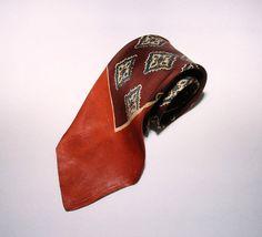 Vintage 40's 50's /  Men's Steigers Tie / Art by CicelysCloset
