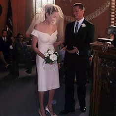 Angelina Jolie and Brad Pitt, pictured for their on-screen wedding in 2005 film Mr & Mrs Smith, married last weekend. Movie Wedding Dresses, Celebrity Wedding Dresses, Wedding Movies, Wedding Dress Pictures, Celebrity Weddings, Brad And Angelina Jolie, Brad And Angie, Jennifer Aniston, Wedding News