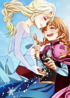 Elsa  Anna anime style